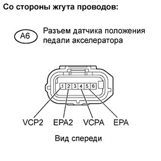 Разъём датчика педали акселератора 1AZ-FE TOYOTA RAV4