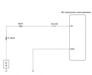 Цепь питания ЭБУ иммобилайзера (без системы посадки и запуска)