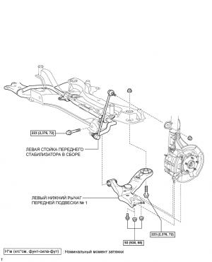 Нижний рычаг передней подвески № 1 (для моделей с механической трансмиссией)