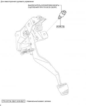Выключатель блокировки муфты сцепления при пуске (для 2AD-FTV, 2AD-FHV)