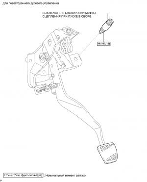 Выключатель блокировки муфты сцепления при пуске (для 1AZ-FE, 2AZ-FE)